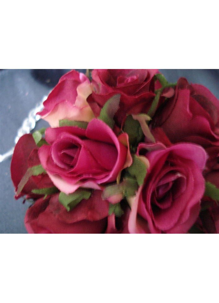 Fuchsia pink rose ball on crystal hanger 600