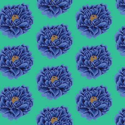 Full Bloom - Blue -  Extra Wide Backer