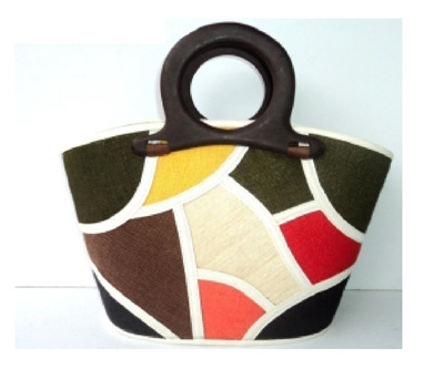 Fun Bag -moss green, yellow and cream - FREE SHIPPING