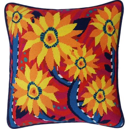 Fun Flowers Needlepoint Cushion Kit by Tess Norquay