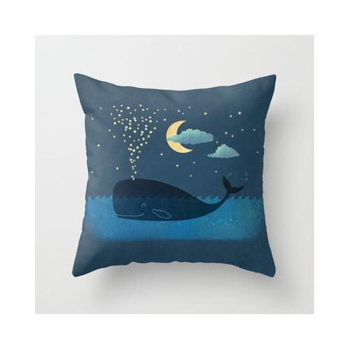 Funky cushion cover for kids room - whale