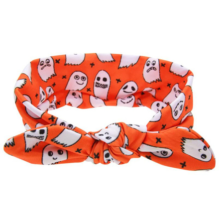 Funky Orange Knot Hairband with Ghosts