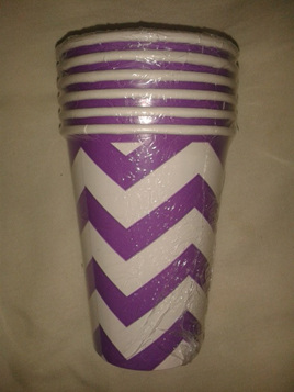 Funky Purple/White Zig Zag Party Cups x 6
