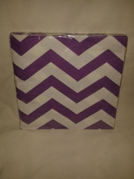 Funky Purple/White Zig Zag Party Napkins x 16