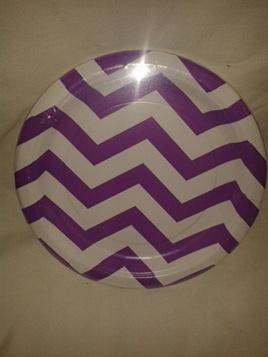 "Funky Purple/White Zig Zag Party Plates 7"" x 8"