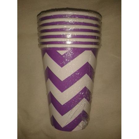 Funky Purple/White Zig Zag Party Cups x 6