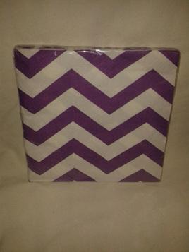 Funky Purple/White Zig Zag Party Napkins x 16