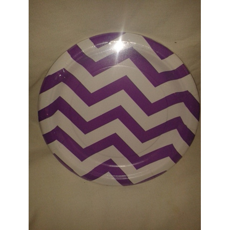 "Funky Purple/White Zig Zag Party Plates 7"" x 8"