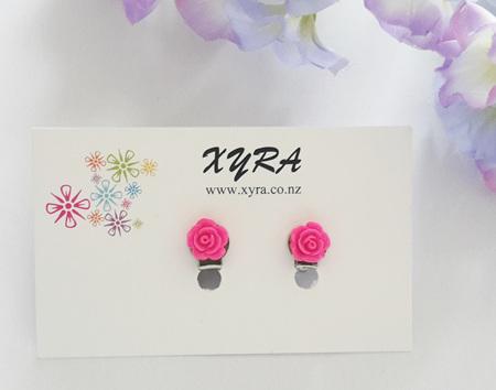 Fuschia Mini Rose Clip-on Earrings
