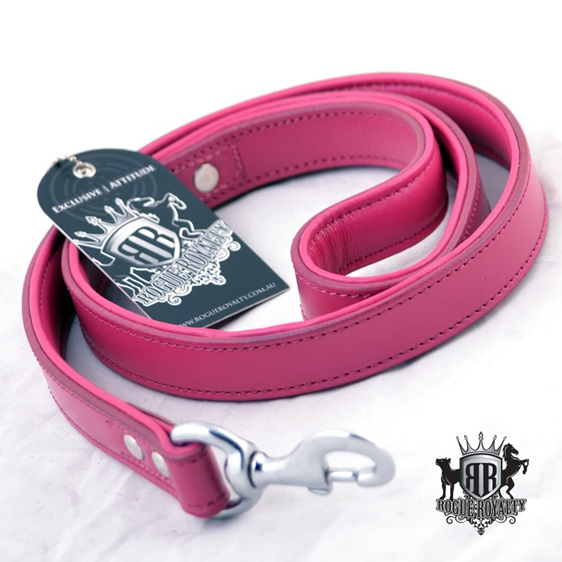Fuscia Padded Strong Leather Leash by Rogue Royalty