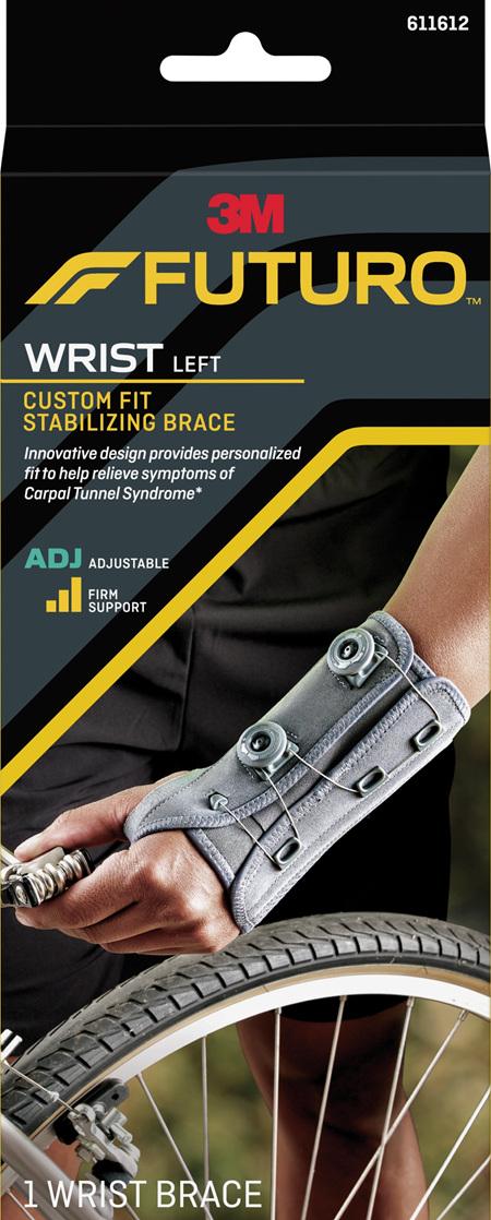 Futuro Custom Fit Stabilising Wrist Brace, Left Hand, Adjustable