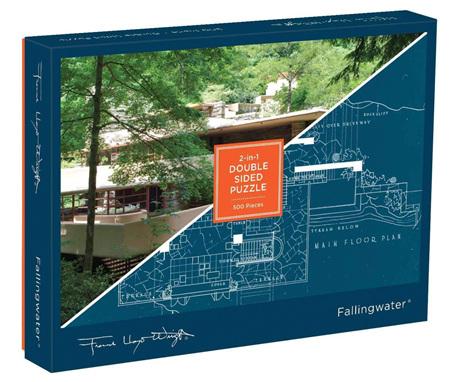 Galison 500 Piece: Frank Lloyd Wright Fallingwater Double-Sided Jigsaw Puzzle