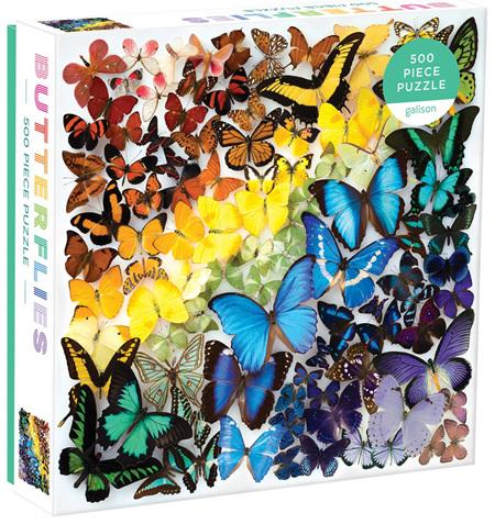 Galison 500 Piece Jigsaw Puzzle: Rainbow Butterflies