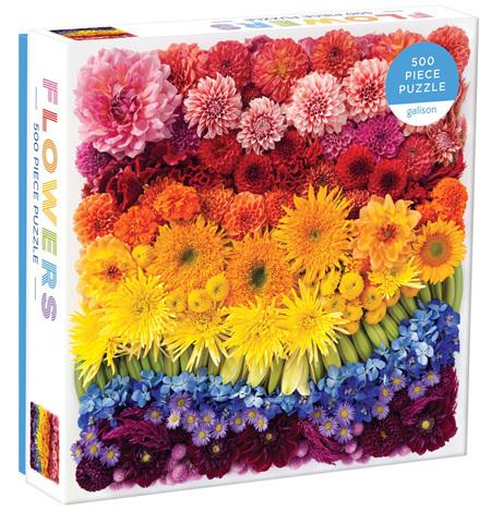 Galison 500 Piece Jigsaw Puzzle: Rainbow Summer Flowers