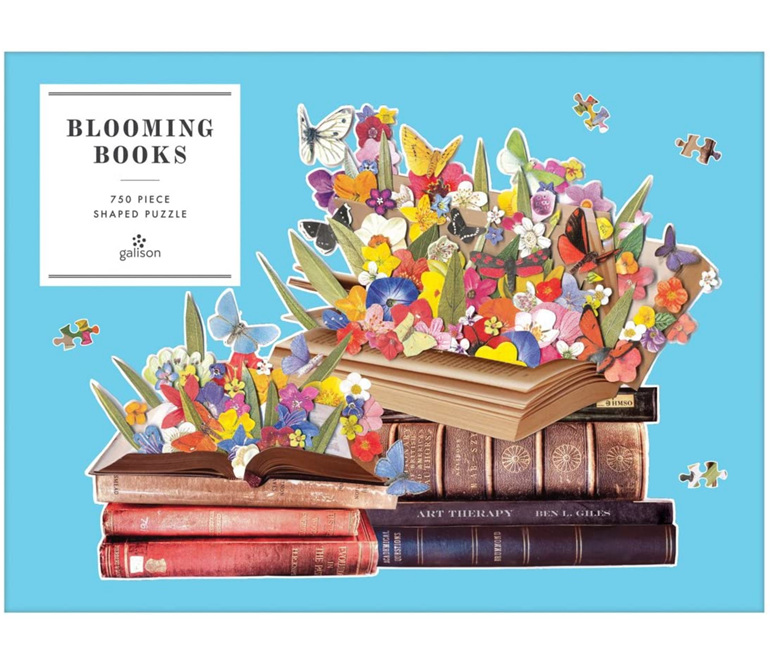 Galison 750 piece shaped jigsaw puzzle Blooming Books Buy at www.puzzlesnz.co.nz
