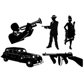 Gangster Cutouts Silhouettes pack of 5