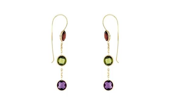 garnet, peridot and amethyst yellow gold earrings