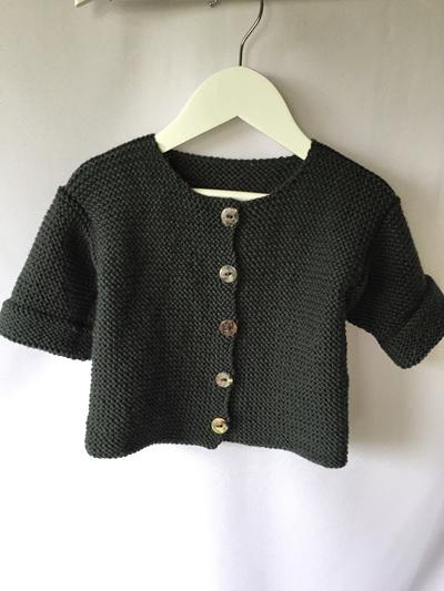 Garter stitch round neck jacket