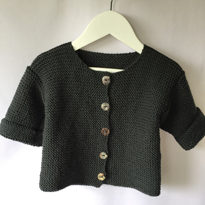 Garter stitch round neck jacket
