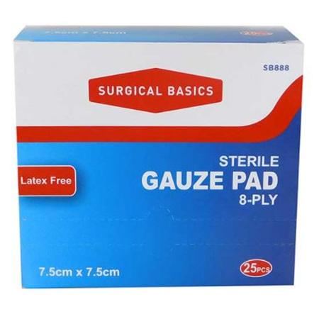 GAUZE PAD STERILE 7.5X7.5 CM 25 SINGLE