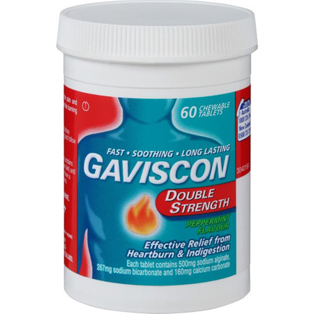 Gaviscon Double Strength Peppermint 60 Chewable Tablets