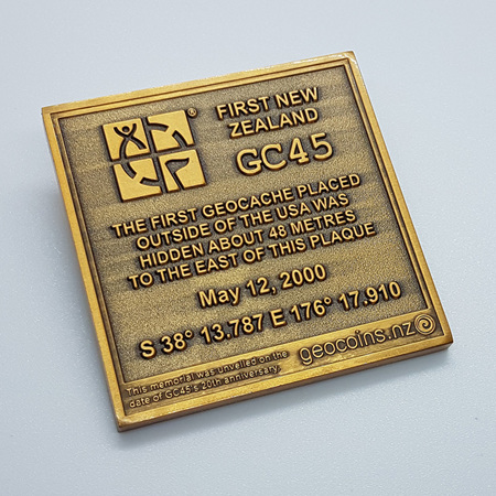 GC45 Tribute Antique Gold LE Geocoin
