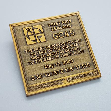 GC45 Tribute Antique Gold LE Geocoin