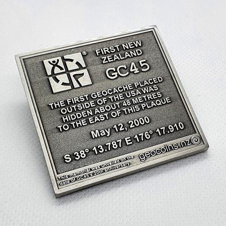 GC45 Tribute Antique Silver LE Geocoin
