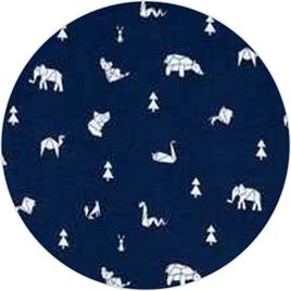 """""""Geo Animals"""" Navy, 100% Cotton Knit                   190 gsm"""