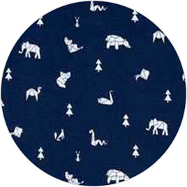 """Geo Animals"" Navy, 100% Cotton Knit                        190 gsm"