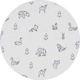 """""""Geo Animals"""" White, 100% Cotton Knit                        190 gsm"""