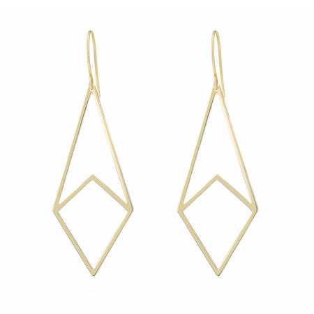 Geometric Kite Shaped Gold Earrings