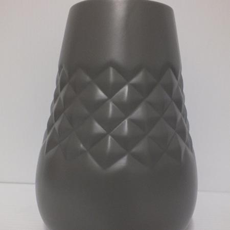 Geometric Patterned Vase Dark Grey C3828