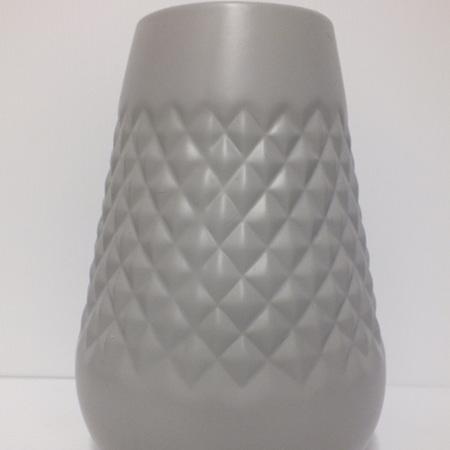 Geometric Patterned Vase Mid Grey C3827