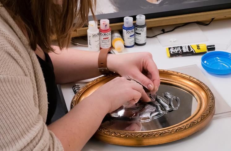 Georgina Rarity Creating Mirror Art for The Village Goldsmith