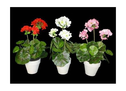 geranium potted artificial silk flower fake plant
