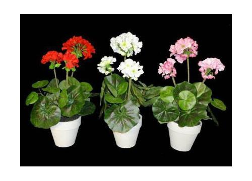 geranium potted artificial silk flower fake plant