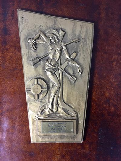German Modernist Design Gold Finished Plaque of St Sebastian