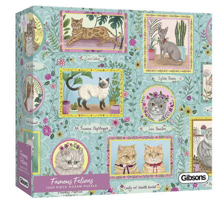 Gibsons 1000 Piece Jigsaw Puzzle: Famous Felines