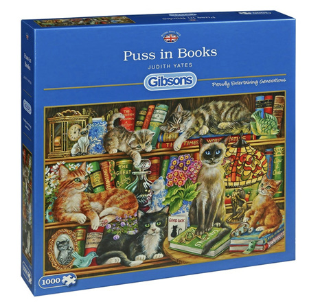 Gibsons 1000 Piece Jigsaw Puzzle: Puss In Books
