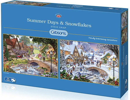 Gibsons  2 x 500 Piece Jigsaw Puzzles: Summer Days & Snowflakes