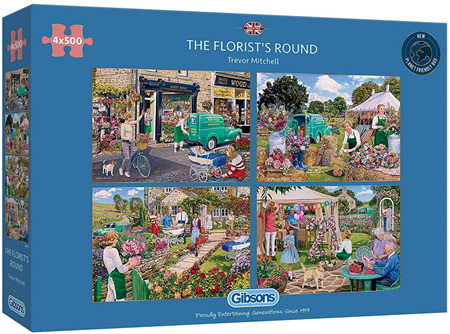 Gibsons 4 x 500 Piece Jigsaw Puzzles: Florists Round