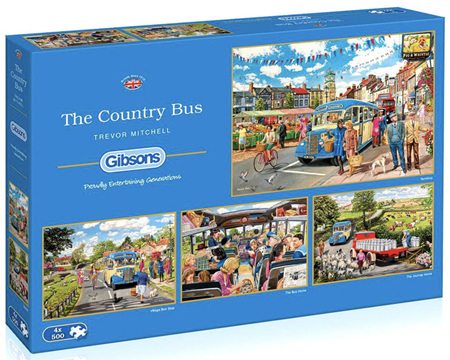 Gibsons 4 x 500 Piece Jigsaw Puzzles: The Country Bus