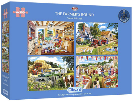 Gibsons 4 x 500 Piece Jigsaw Puzzles: The Farmers Round