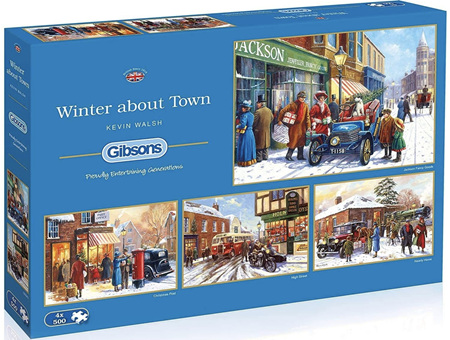 Gibsons  4 x 500 Piece Jigsaw Puzzles: Winter About Town
