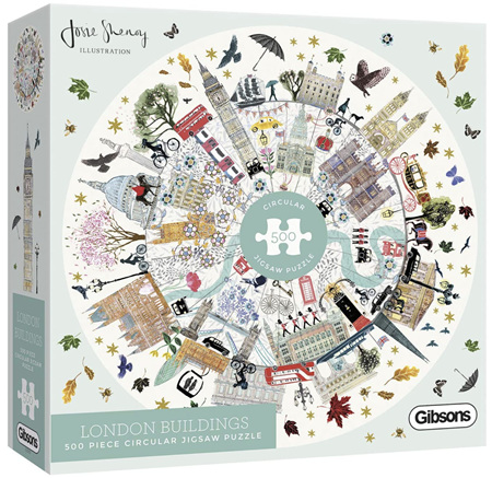 Gibsons 500 Piece Round Jigsaw Puzzle: London Buildings