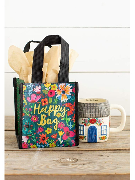 Gift Bag Recycle - Happy Gold & Floral - Small