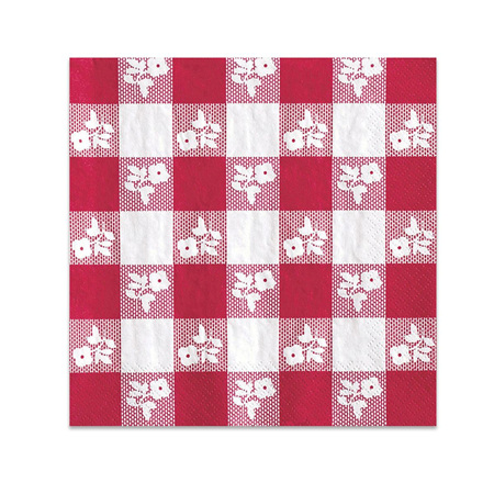 Gingham Red and White Napkins x 50