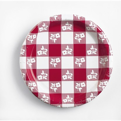 Gingham Red and White  Plates x 24
