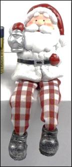 Gingham Shelf sitting Santa